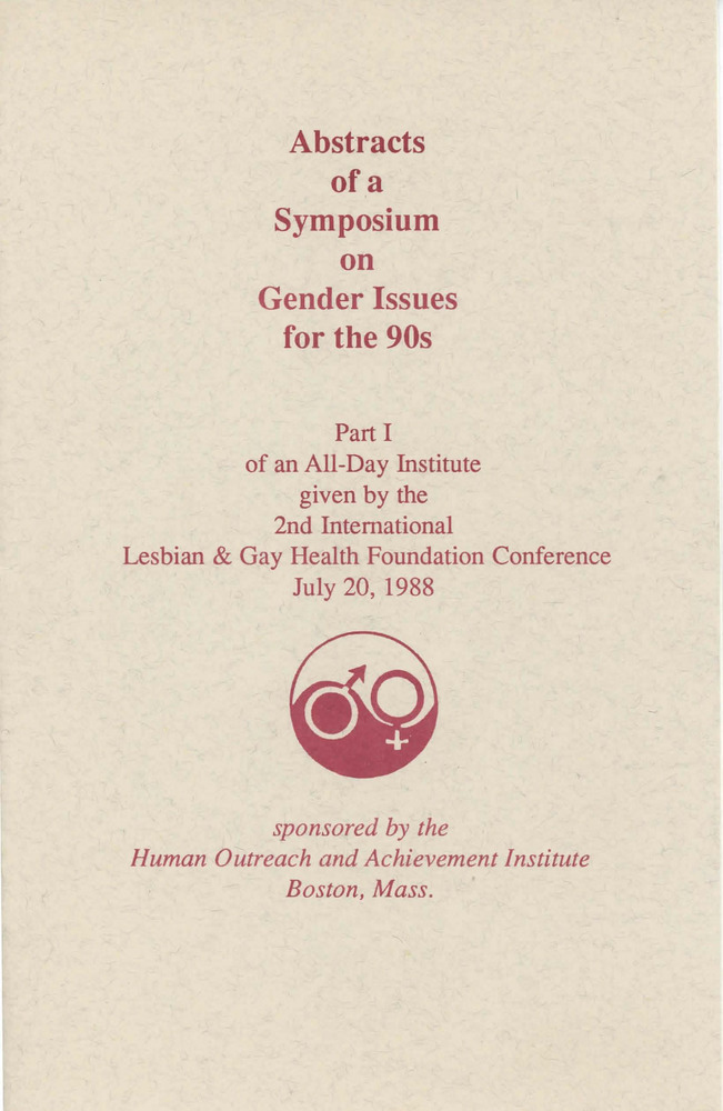 Download the full-sized PDF of Abstracts of a Symposium on Gender Issues for the 90s (Jul. 20, 1988)