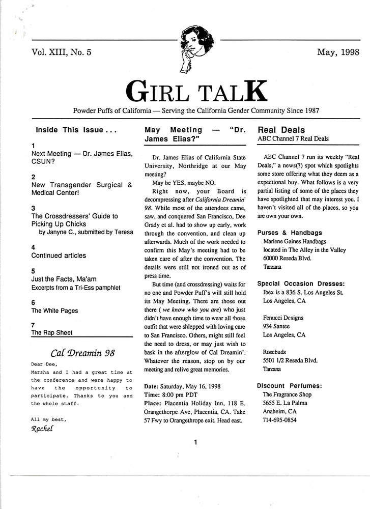 Download the full-sized PDF of Girl Talk, Vol. 13 No. 5 (May, 1998)