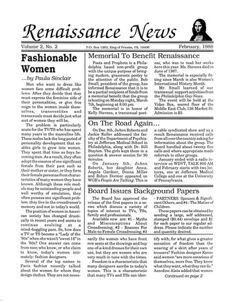 Download the full-sized PDF of Renaissance News, Vol. 2 No. 2 (February 1988)