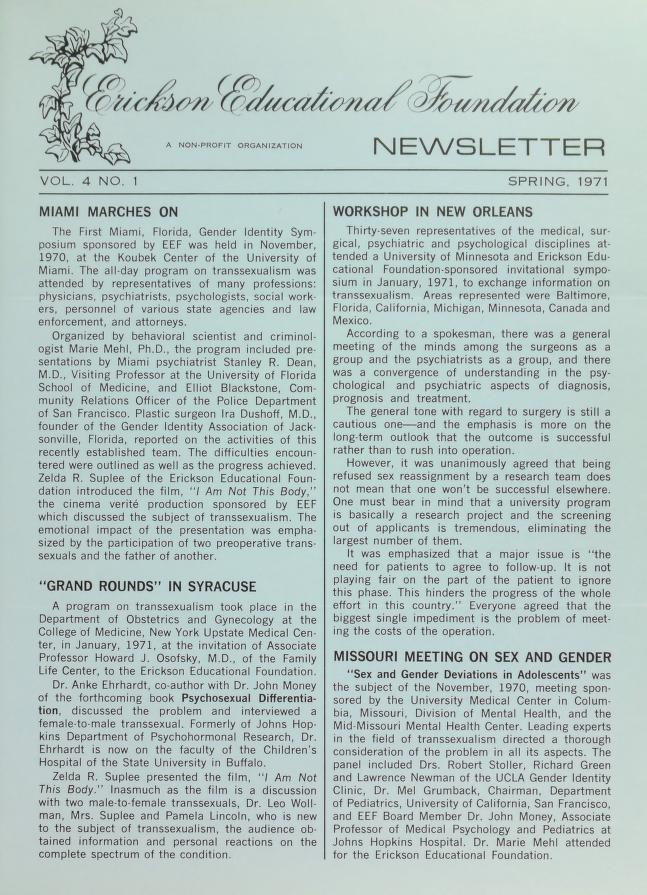 Download the full-sized image of Erickson Educational Foundation Newsletter, Vol. 4 No. 1 (Spring, 1971)