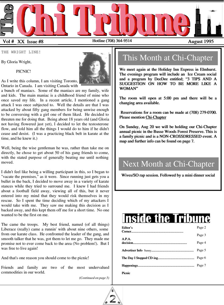 Download the full-sized PDF of The Chi Tribune Vol. 20 Iss. 08 (August, 1995)