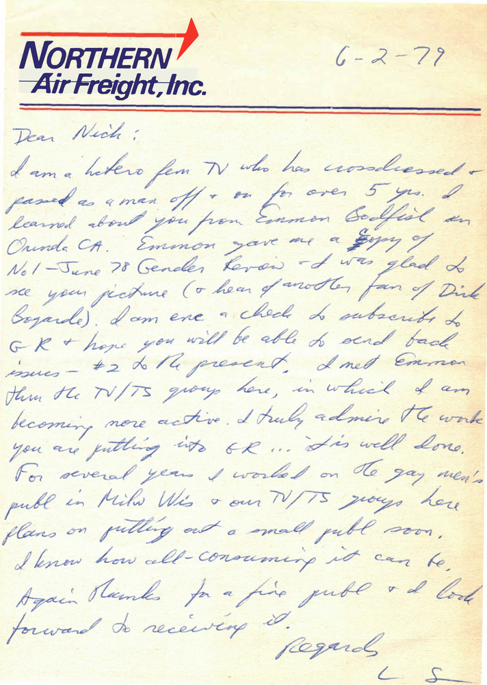 Download the full-sized PDF of Correspondence from Lou Sullivan to Nicholas Ghosh (June 2, 1979)