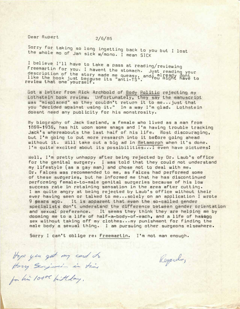Download the full-sized PDF of Correspondence from Lou Sullivan to Rupert Raj (February 6, 1985)