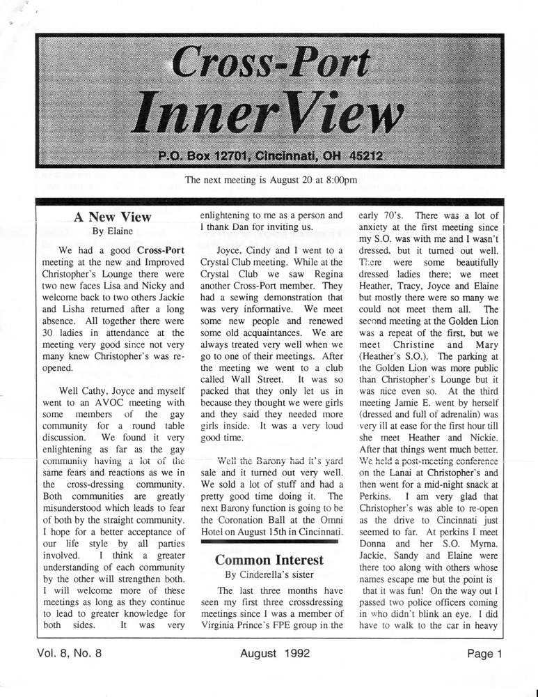 Download the full-sized PDF of Cross-Port InnerView, Vol. 8 No. 8 (August, 1992)