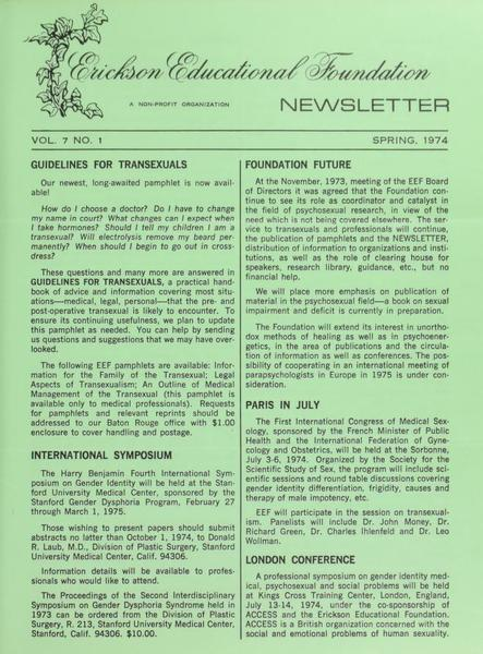 Download the full-sized image of Erickson Educational Foundation Newsletter, Vol. 7 No. 1 (Spring, 1974)