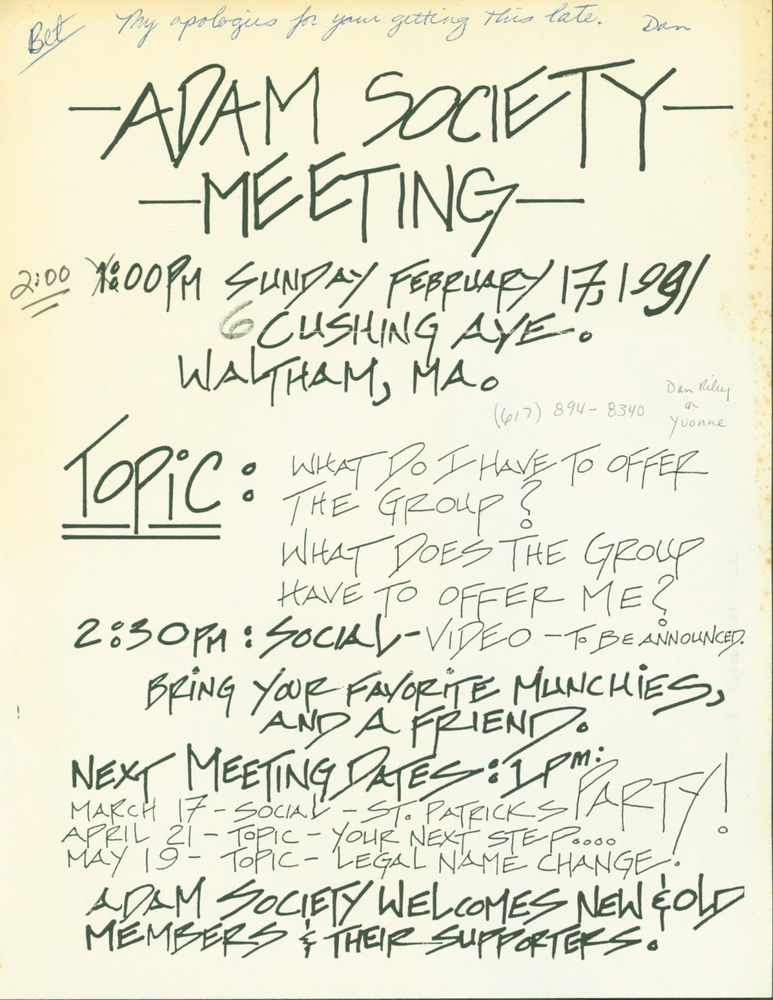Download the full-sized PDF of Adam Society Meeting (February, 1991)