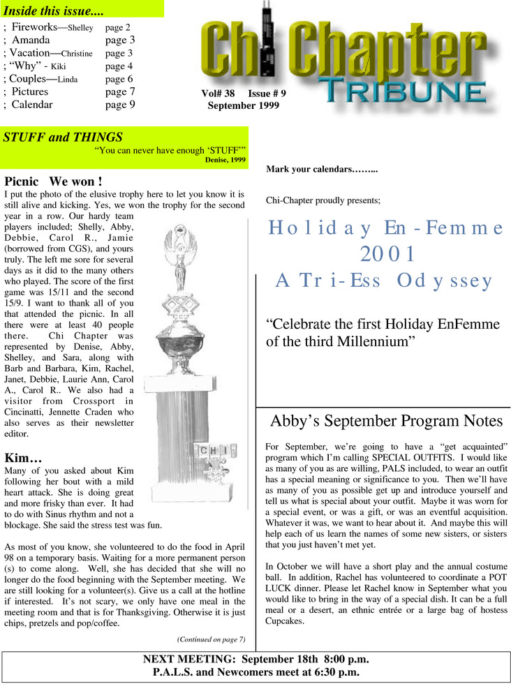Download the full-sized PDF of Chi Chapter Tribune Vol. 38 Iss. 09 (September, 1999)