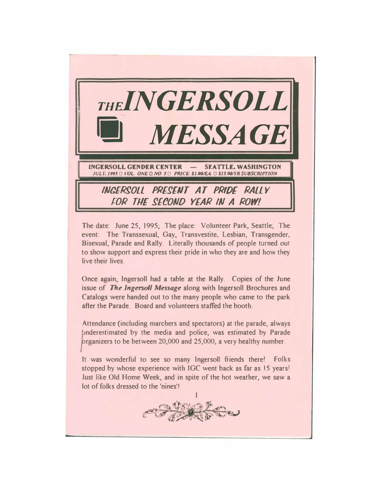 Download the full-sized PDF of The Ingersoll Message, Vol. 1 No.5 (July, 1995)