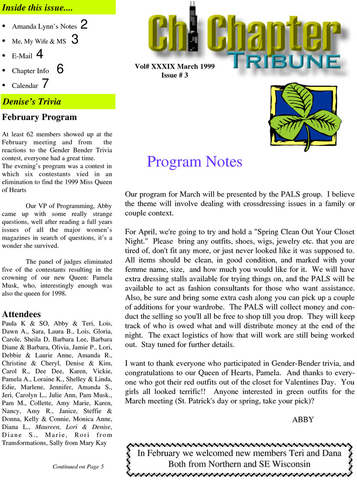 Download the full-sized PDF of Chi Chapter Tribune Vol. 39 Iss. 03 (March, 1999)