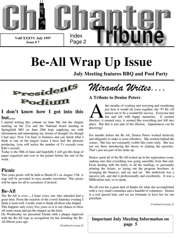 Download the full-sized PDF of Chi Chapter Tribune Vol. 36 Iss. 07 (July, 1997)