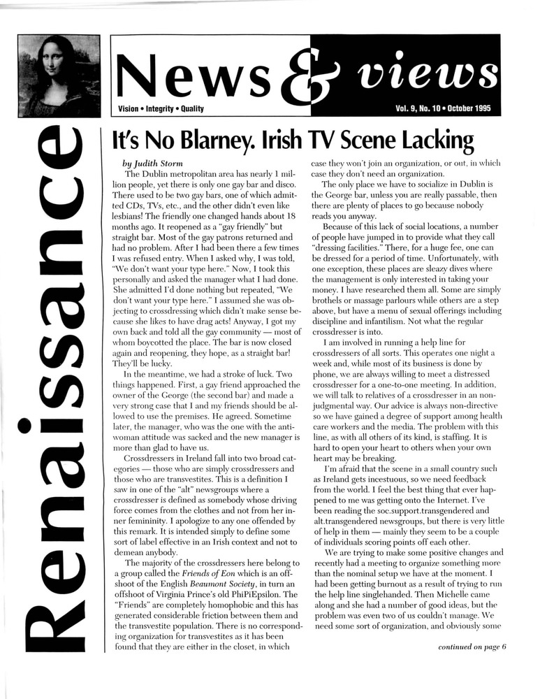 Download the full-sized PDF of Renaissance News & Views, Vol. 9 No. 10 (October 1995)