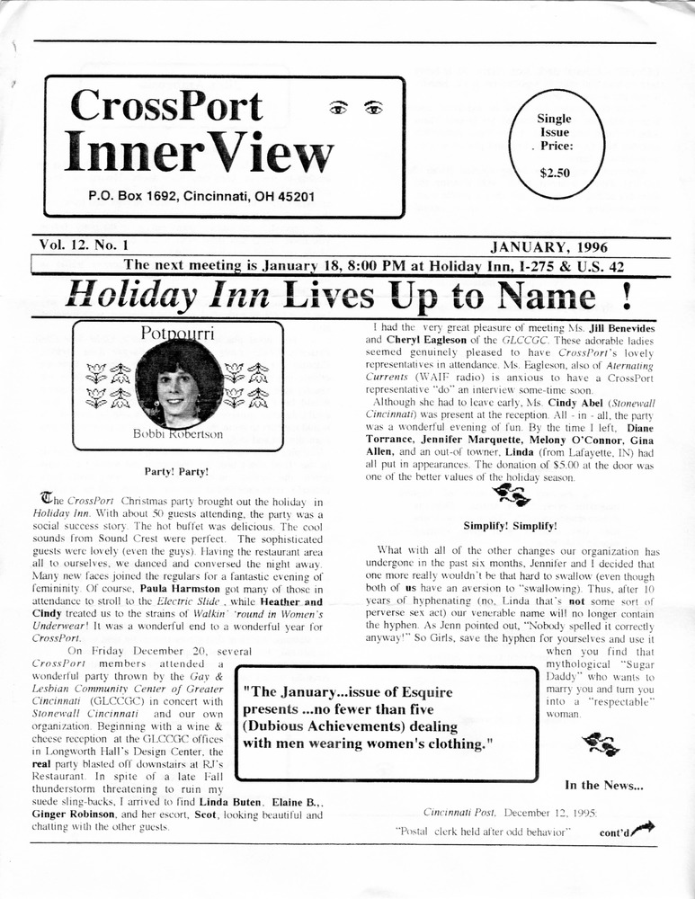 Download the full-sized PDF of Cross-Port InnerView, Vol. 12 No. 1 (January, 1996)