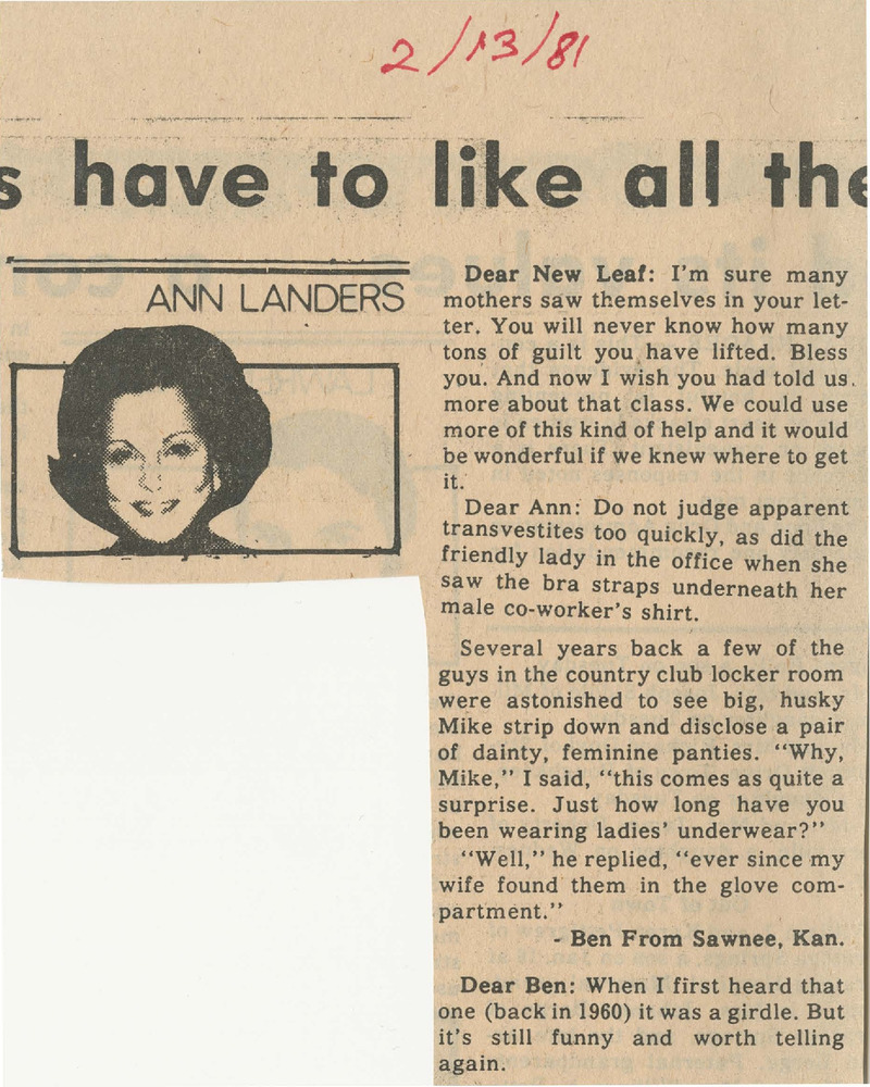 Download the full-sized PDF of Ann Landers Advice Column (February 13, 1981)