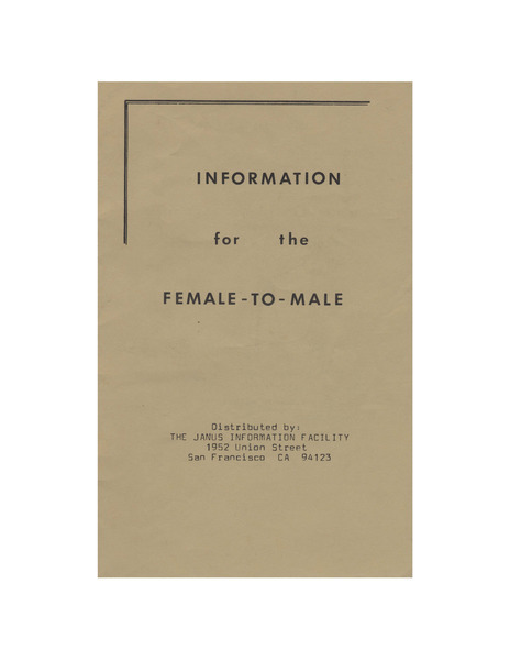 Download the full-sized image of Information for the Female-to-Male (1980)