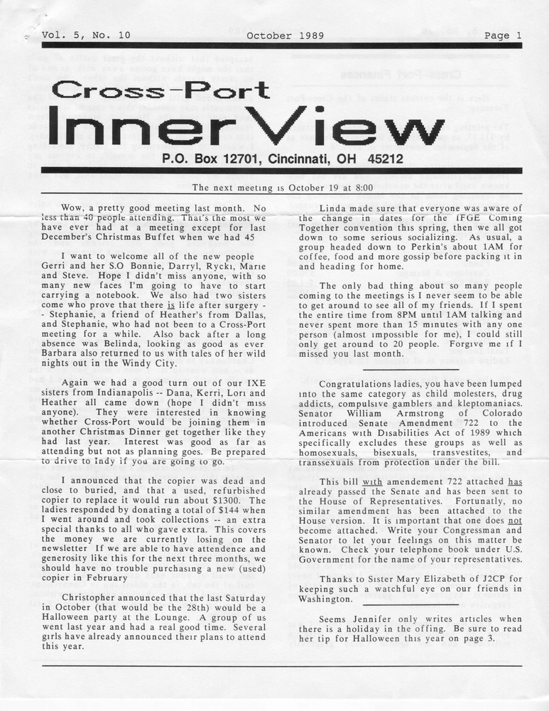 Download the full-sized PDF of Cross-Port InnerView, Vol. 5 No. 10 (October, 1989)