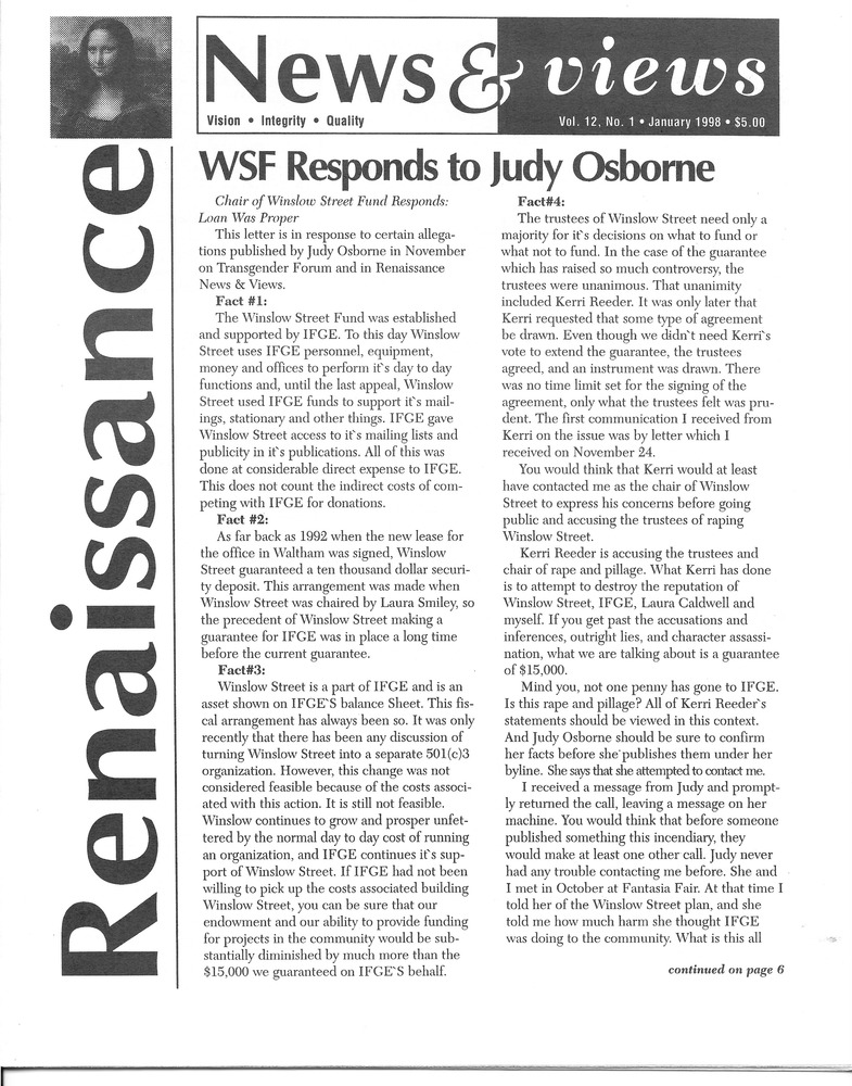 Download the full-sized PDF of Renaissance News & Views Vol. 12 No. 1 (January, 1998)