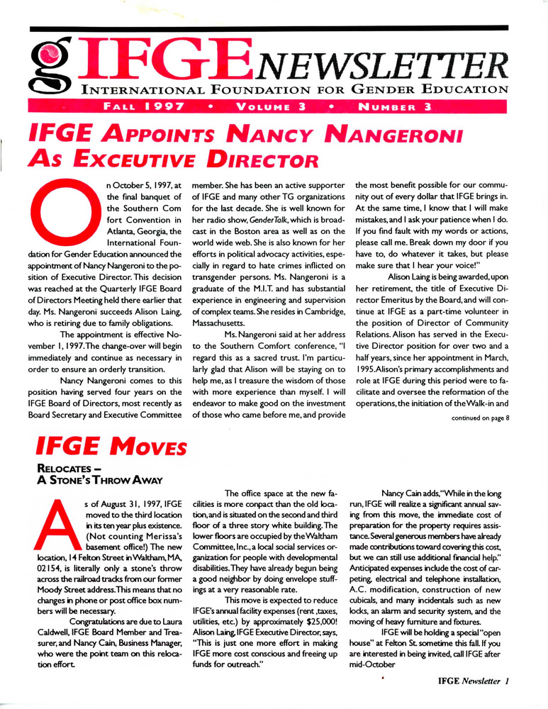 Download the full-sized PDF of IFGE Newsletter Vol. 3 No. 3 (Fall 1997)