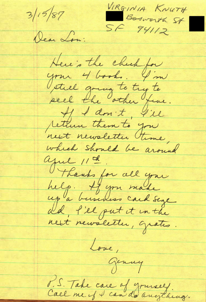 Download the full-sized PDF of Correspondence from Ginny Knuth to Lou Sullivan (March 15, 1987)