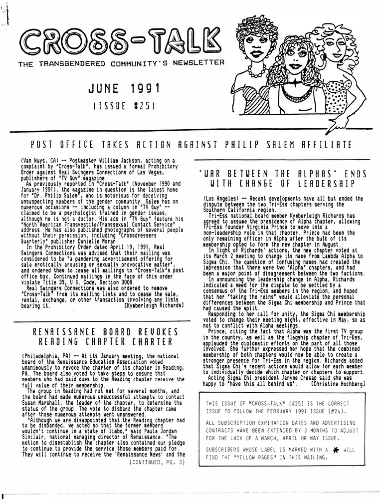Download the full-sized PDF of Cross-Talk The Transgender Community News & Information Monthly, No. 25 (June, 1991)