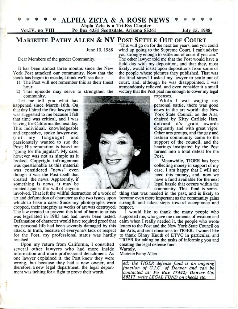 Download the full-sized PDF of Alpha Zeta & A Rose News Vol. 4 No. 8 (July 15, 1988)