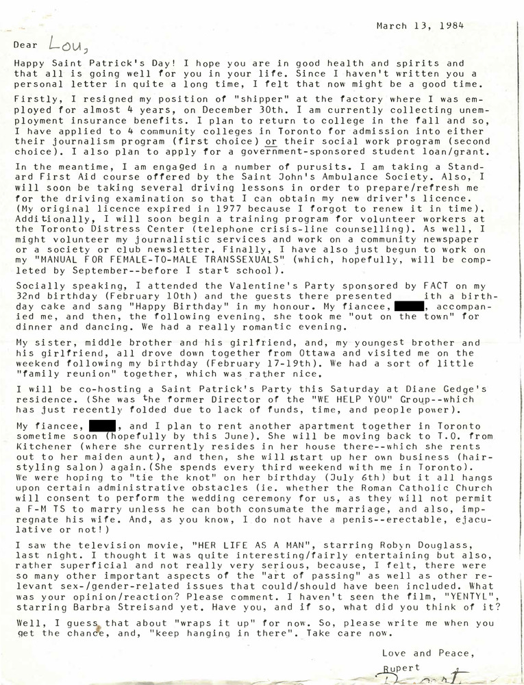 Download the full-sized PDF of Correspondence from Rupert Raj to Lou Sullivan (March 13, 1984)