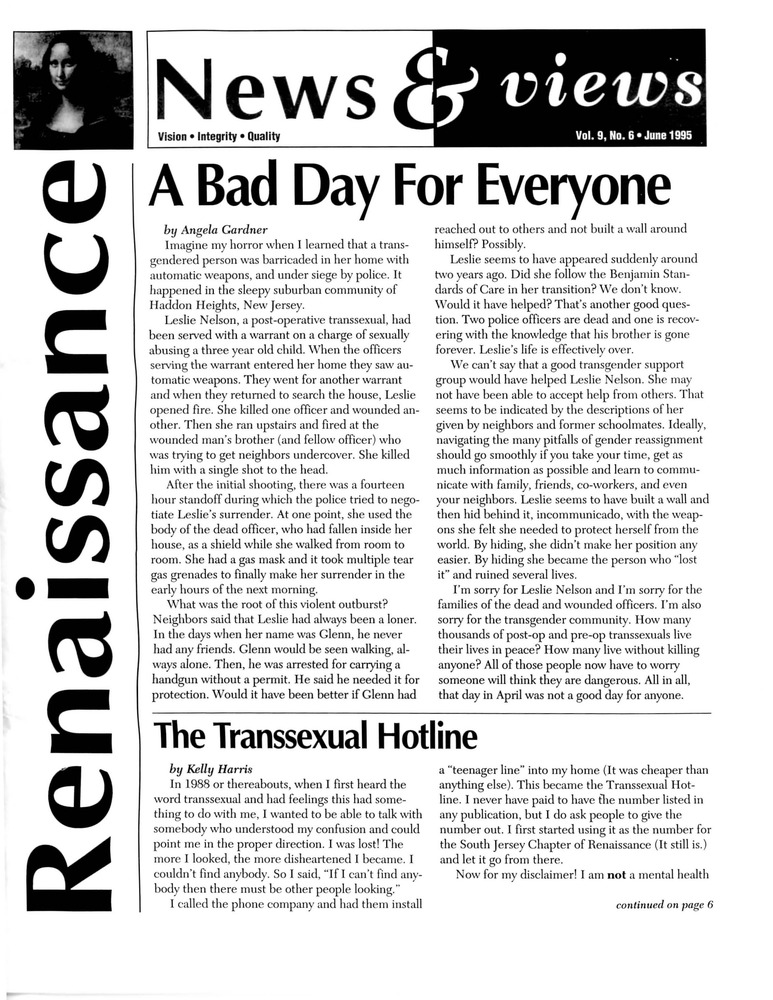 Download the full-sized PDF of Renaissance News & Views, Vol. 9 No. 6 (June 1995)