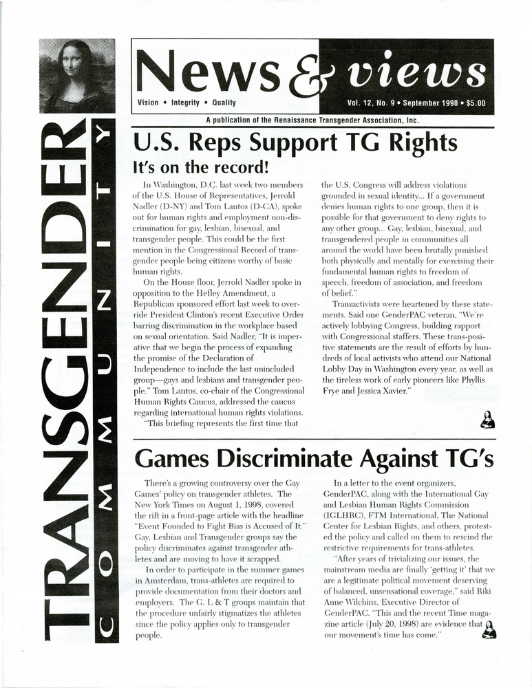 Download the full-sized PDF of Renaissance News & Views, Vol. 12 No. 9 (September 1998)