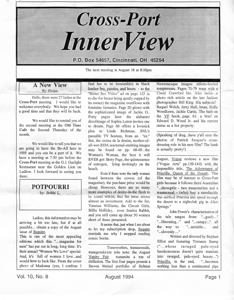 Download the full-sized PDF of Cross-Port InnerView, Vol. 10 No. 8 (August, 1994)