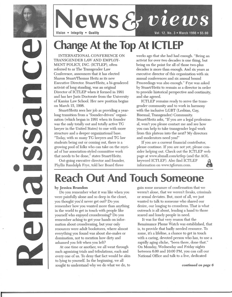 Download the full-sized PDF of Renaissance News & Views Vol. 12, No. 3 (March, 1998)
