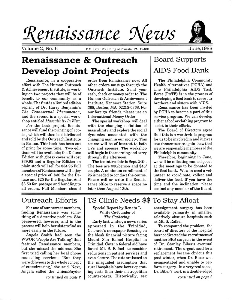 Download the full-sized PDF of Renaissance News, Vol. 2 No. 6 (June 1988)