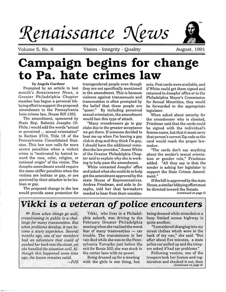 Download the full-sized PDF of Renaissance News, Vol. 5 No. 8 (August 1991)