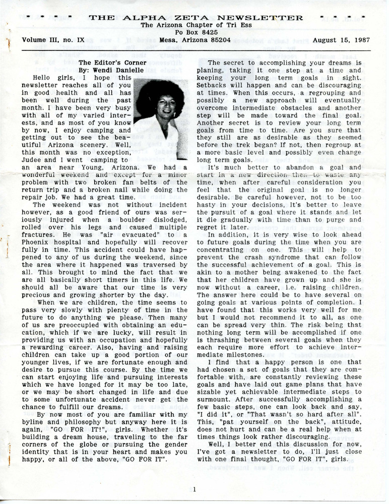 Download the full-sized PDF of The Alpha Zeta Newsletter Vol. 3 No. 9 (August 15, 1987)