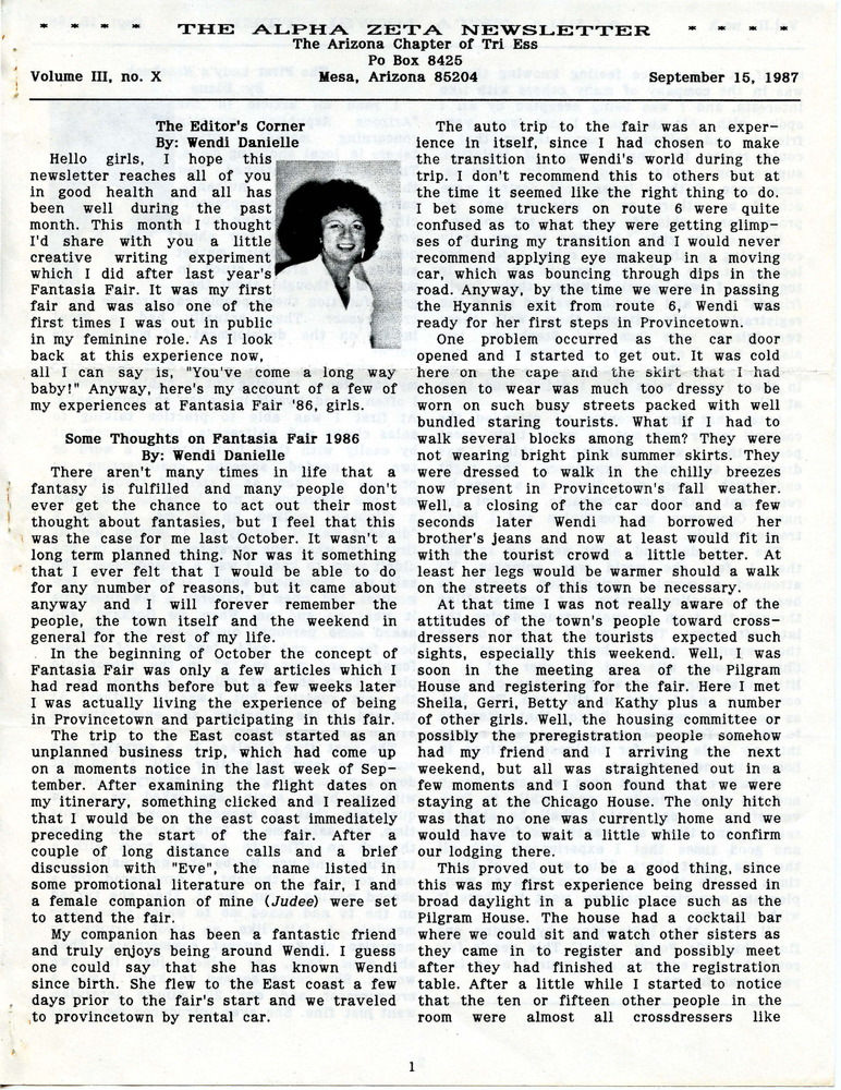 Download the full-sized PDF of The Alpha Zeta Newsletter Vol. 3 No. 10 (September 15, 1987)