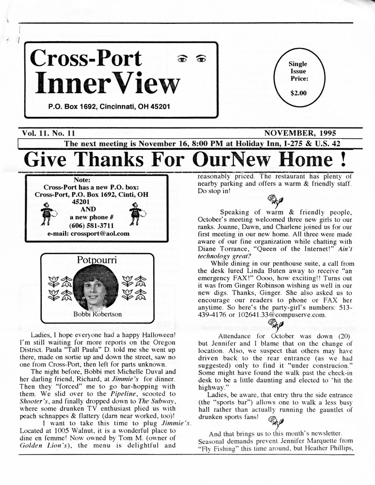 Download the full-sized PDF of Cross-Port InnerView, Vol. 11 No. 11 (November, 1995)