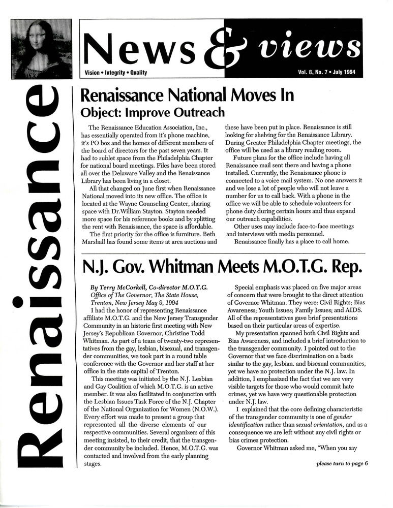 Download the full-sized PDF of Renaissance News & Views, Vol. 8 No. 7 (July 1994)