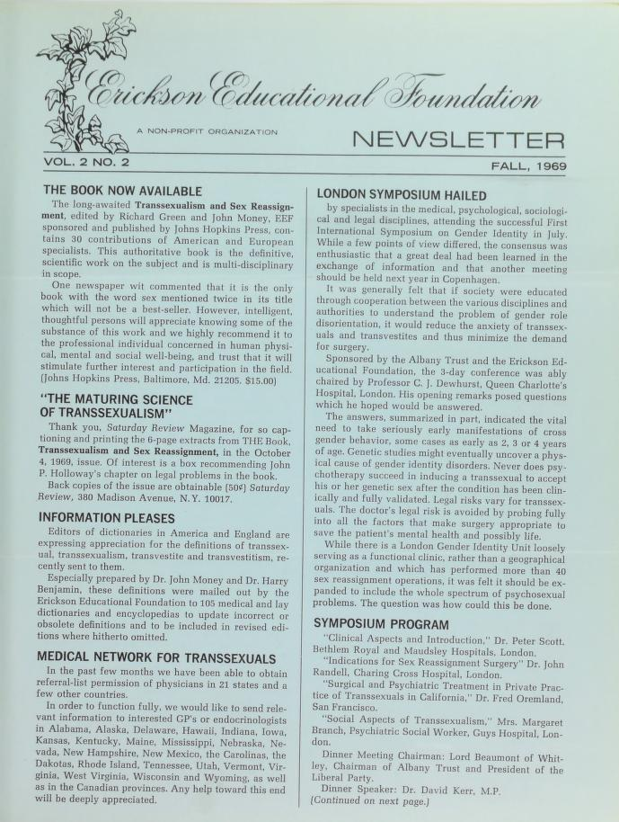 Download the full-sized image of Erickson Educational Foundation Newsletter, Vol. 2 No. 2 (Fall, 1969)