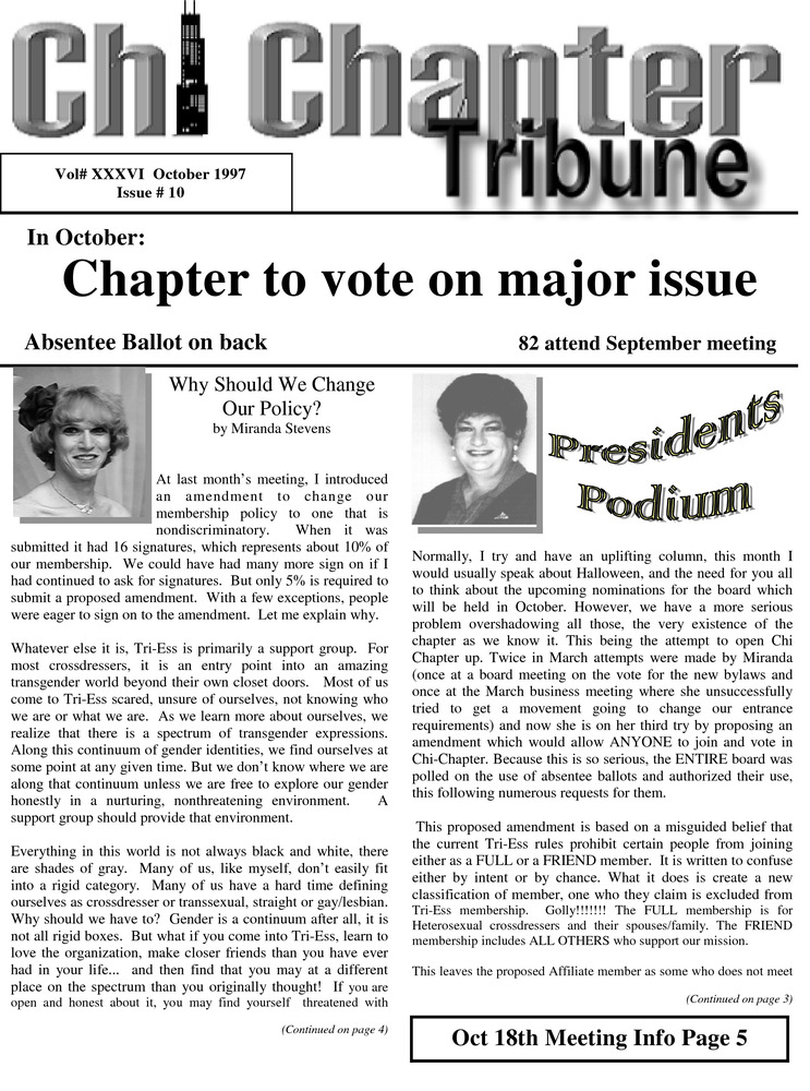 Download the full-sized PDF of Chi Chapter Tribune Vol. 36 Iss. 10 (October, 1997)