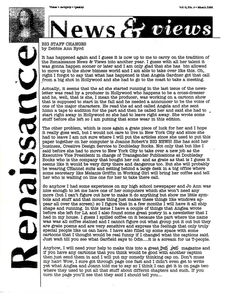 Download the full-sized PDF of Renaissance News & Views, Vol. 8 No. 4 (April 1994)