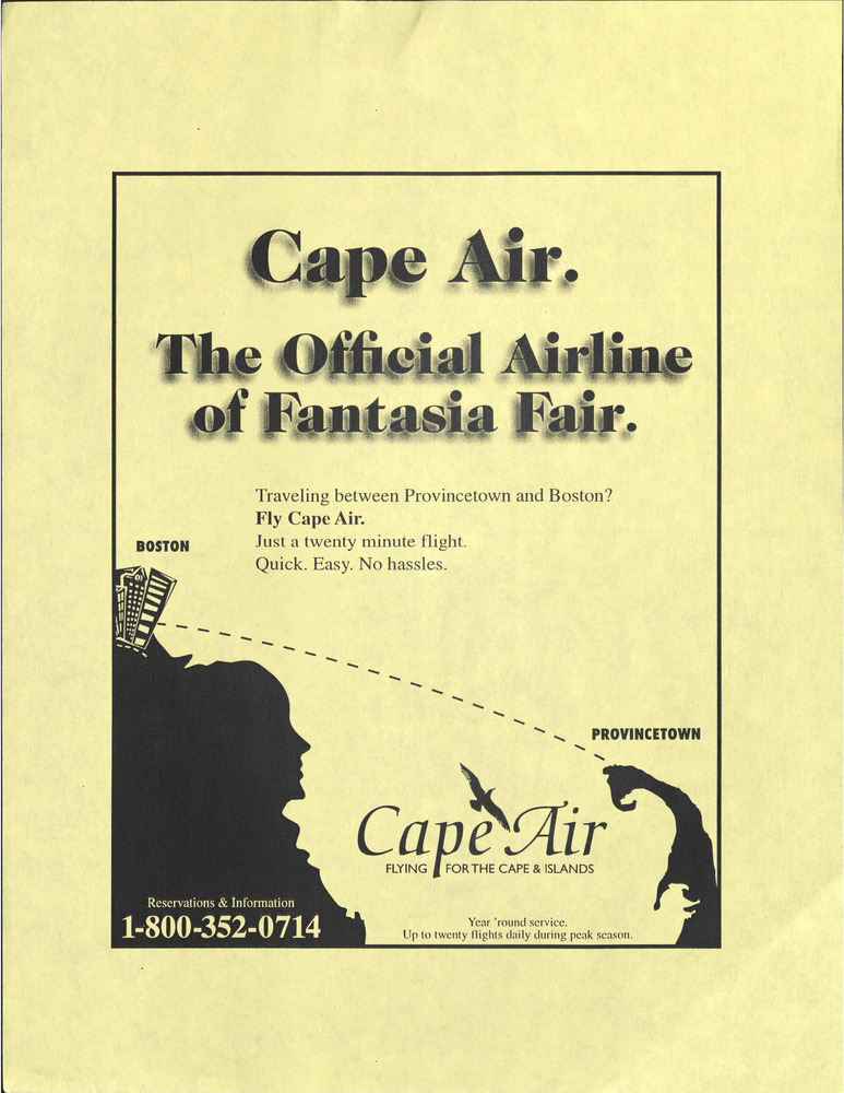 Download the full-sized PDF of Cape Air. The Official Airline of Fantasia Fair.