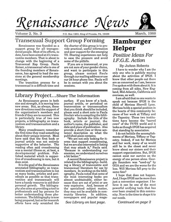 Download the full-sized PDF of Renaissance News, Vol. 2 No. 3 (March 1988)