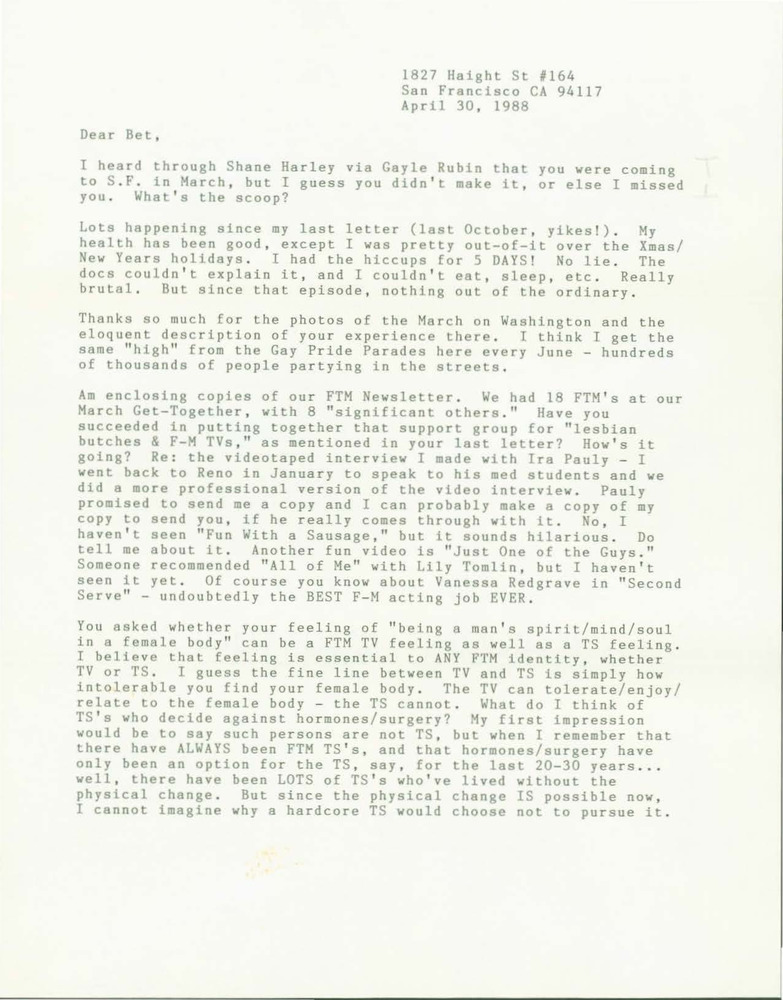 Download the full-sized PDF of Letter from Lou Sullivan to Bet Power (April 30, 1988)