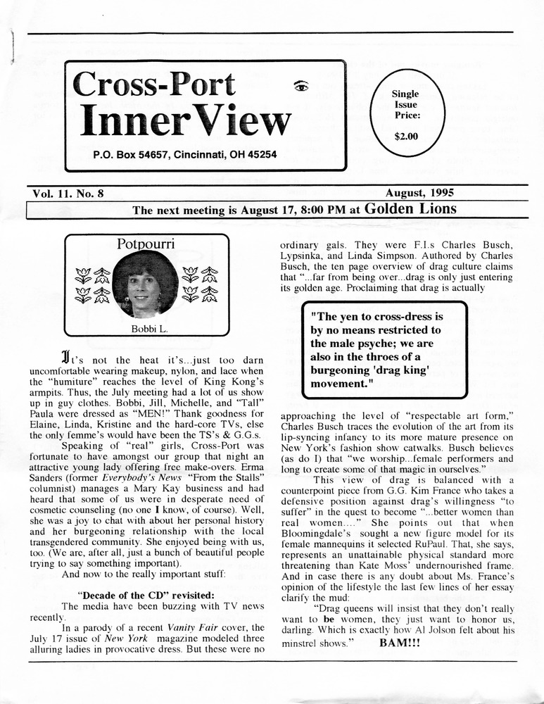 Download the full-sized PDF of Cross-Port InnerView, Vol. 11 No. 8 (August, 1995)