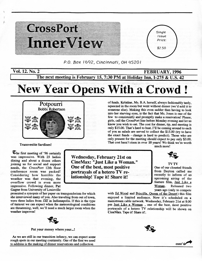 Download the full-sized PDF of Cross-Port InnerView, Vol. 12 No. 2 (February, 1996)