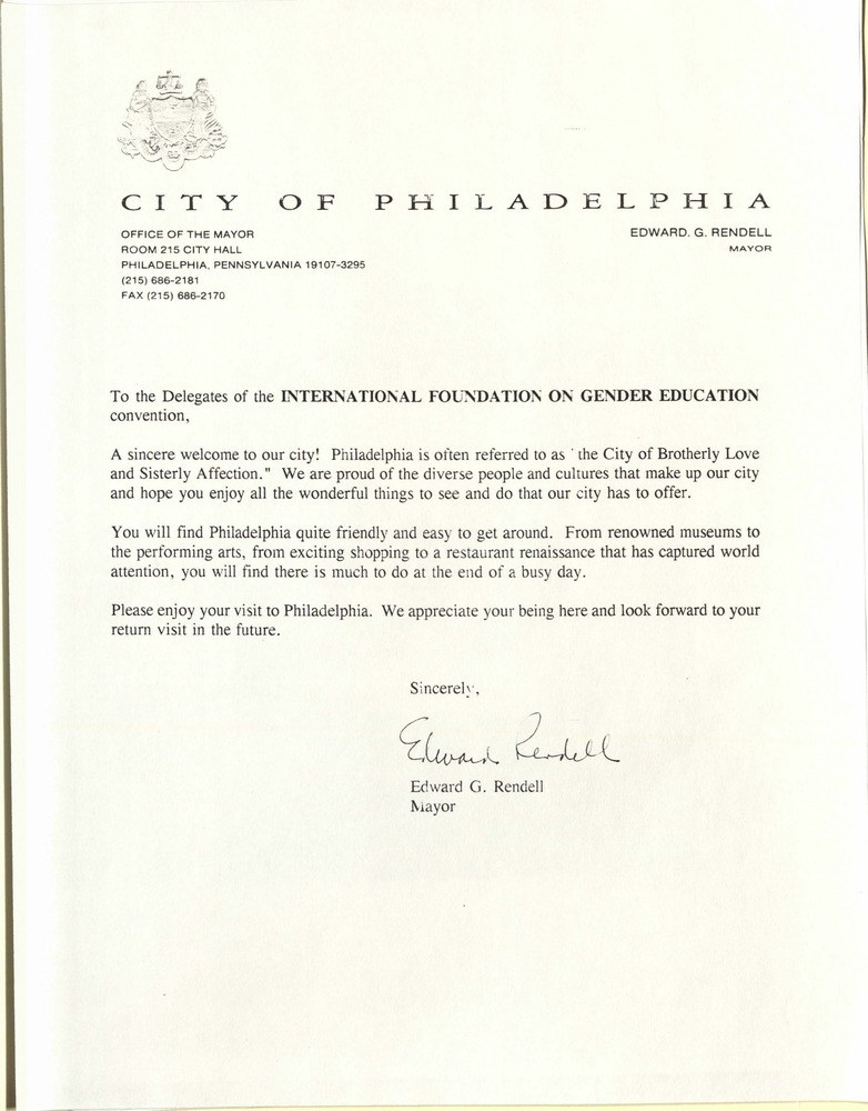 Download the full-sized PDF of Letter To IFGE From Philadelphia Mayor