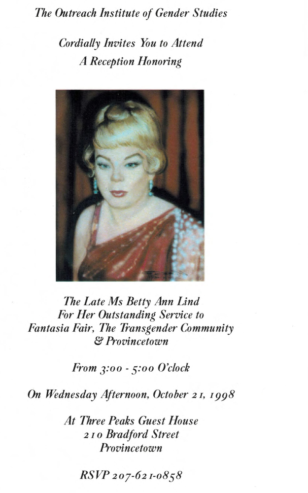 Download the full-sized image of Invitation to Reception in Honor of Betty Ann Lind