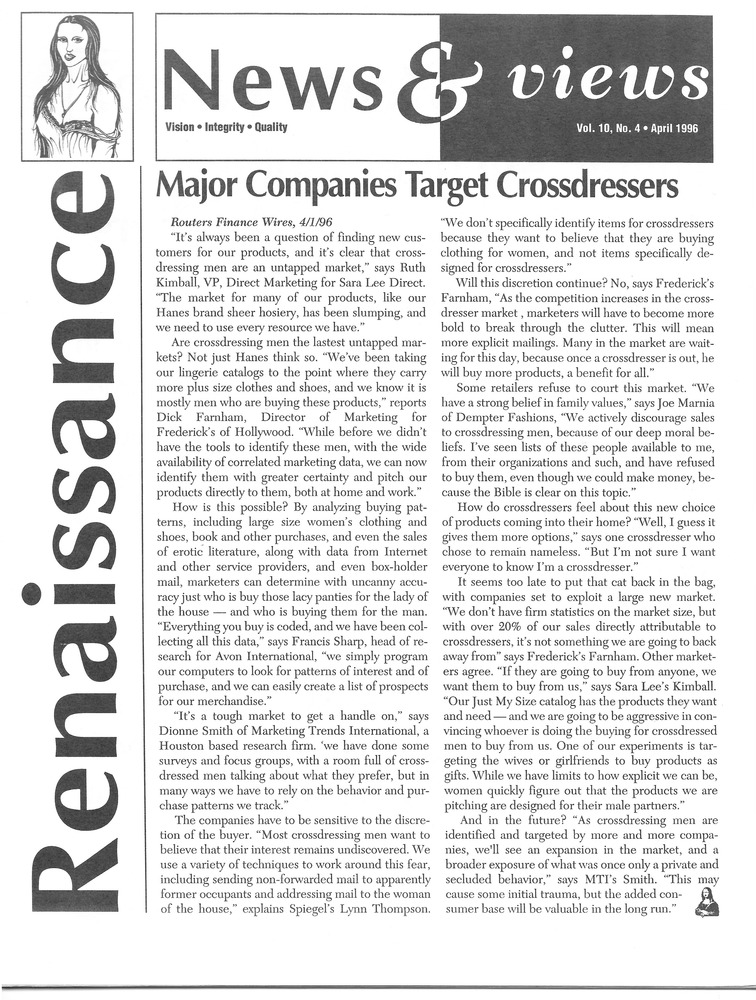 Download the full-sized PDF of Renaissance News & Views Vol. 10, No. 4 (April, 1996)