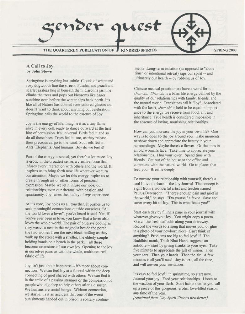 Gender Quest (Spring 2000) - Digital Transgender Archive