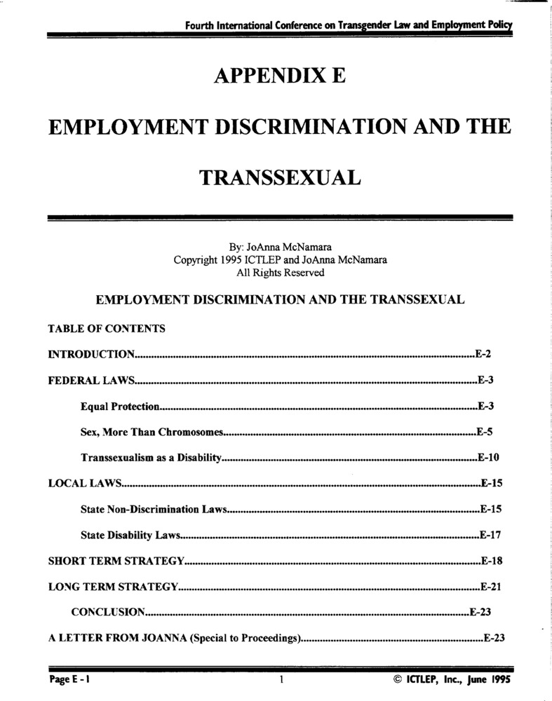 Download the full-sized PDF of Appendix E: Employment Discrimination and the Transsexual