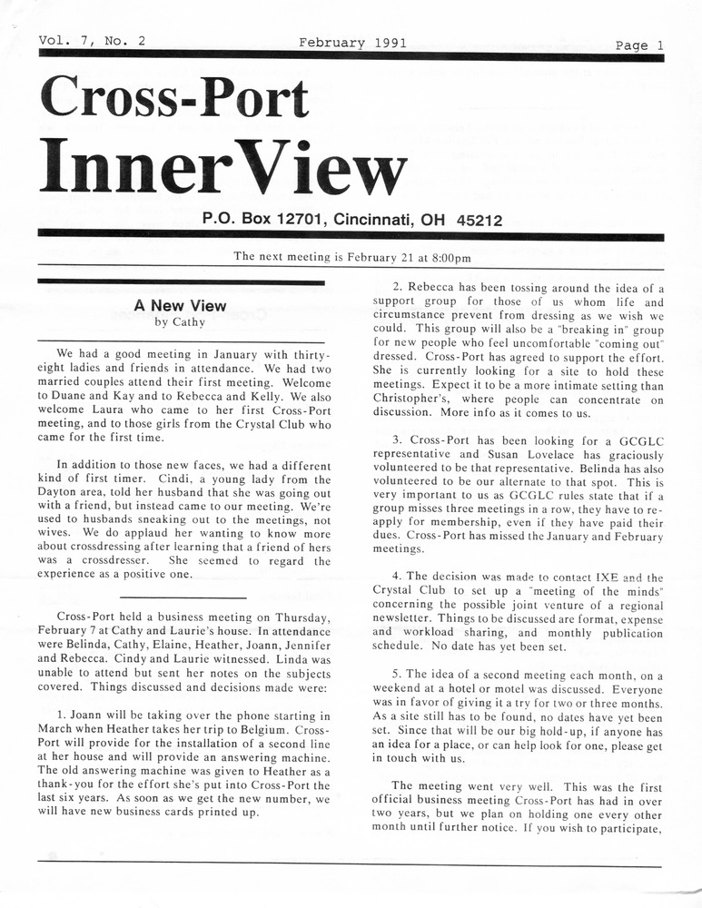 Download the full-sized PDF of Cross-Port InnerView, Vol. 7 No. 2 (February, 1991)