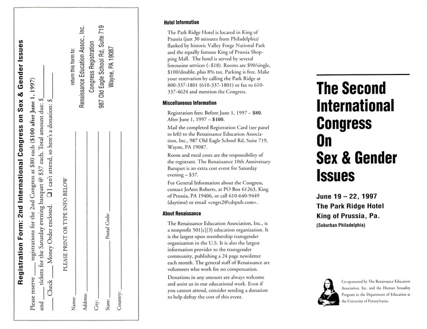 Download the full-sized PDF of Brochure for the Second International Congress on Sex and Gender Issues (June 19-22, 1997)